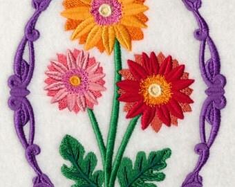 Flower Cameo - Gerbera Daisies, Embroidered flour sack towel, tea towel, hand towel or dish towel New colored towels