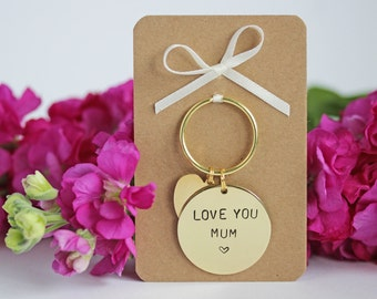 Love You Mum - Mothers Day Gift Hand stamped Keyring personalised with names