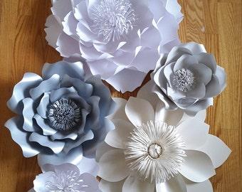 Paper flower backdrop, Mettalic paper flowers, Wedding paper flowers, Wedding backdrop, Paper flower wall decor,