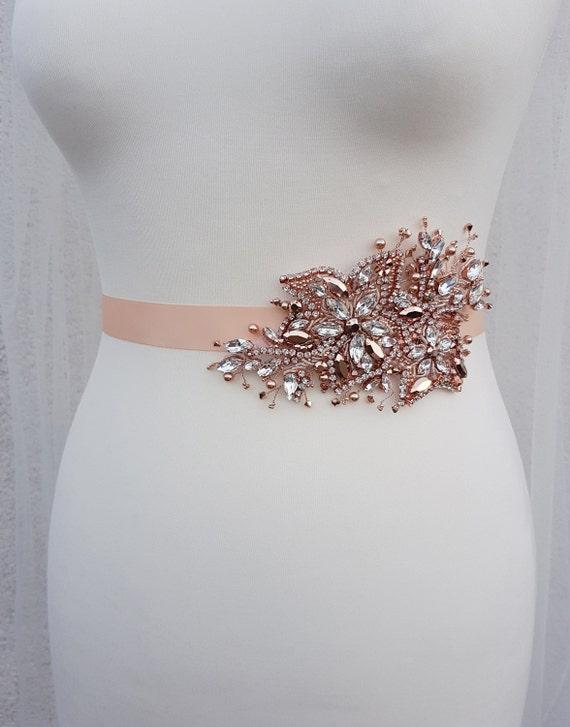 Rose gold bridal belt swarovski sash rose gold sash bridal for Gold belt for wedding dress