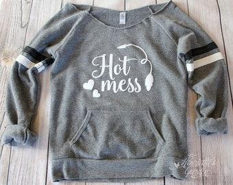 HOT MESS - Tribal Arrow - Hearts - Women's Eco Fleece Wideneck Off Shoulder Sweatshirt - S,M,L,XL