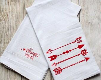 Valentine's Day Tea Towel - Red Tribal Love Arrows - Screenprinted - Flour Sack Kitchen Towel