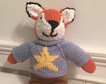 "Knitted stuffed ""Francis"" The Fox"