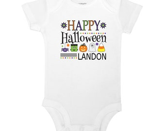 PERSONALIZED NAME Happy Halloween Pumpkin Ghost Candy Toddler Youth Juvy Kids White T-Shirt