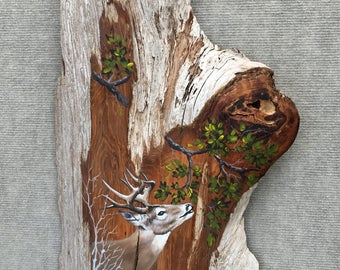 Deer Painting on Driftwood by David Semones 3-27-2-17