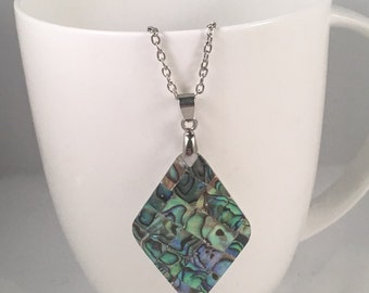 Diamond abalone necklace, abalone pendant necklace, abalone necklace