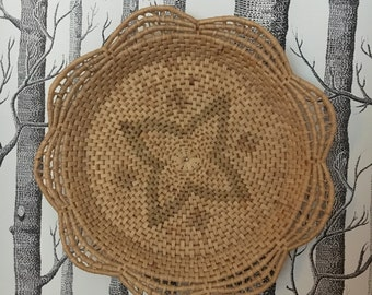 Woven Basket Wall Decor flat wall basket | etsy