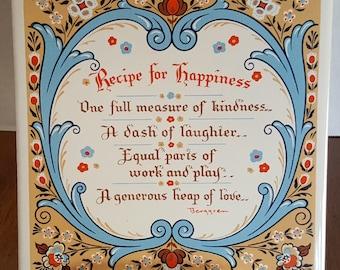 "Vintage Berggren ""Recipe for Happiness"" Tole Design,  Kitchen Tile Trivet, 1960s Berggren Tile Made in England by Pilkington"
