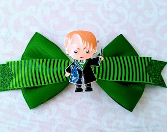Draco Malfoy Hair Bow, Bow Tie/Simple Bow Style, Glitter Ribbon with Custom Embellishment, Hogwarts, Slytherin, Ron, Hermione, Harry Potter