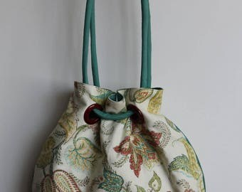 Summer Purse, Grommet Purse in Teal, Cream and Rust (Romance)