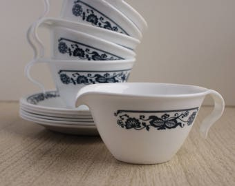 Corelle Old Town Blue Flower - Corelle Living Open Handle Teacup And Saucer Set With Creamer - Corelle Old Towne Blue Flower - Corelle Tea