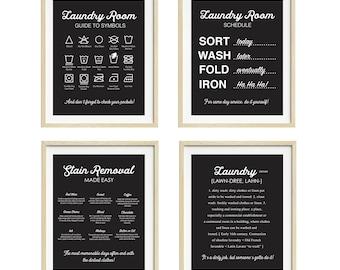 Laundry Room Art, Laundry Wall Art, Set of Four Prints, Black and White Laundry Art, Laundry Instructions Print, Laundry Definition