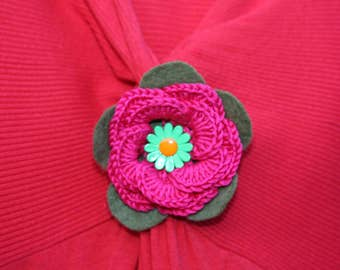 Pink and green handmade flower brooch