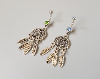 Dream catcher belly button rings, bohemian navel rings, boho belly piercing, green jewelry, blue body jewellery, gypsy jewelery, friend gift