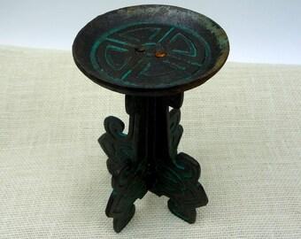 Mid Century Gourmet Royale Ltd Cast Iron Pedestal Candle Holder // Boho Vintage Home Decor // Patina