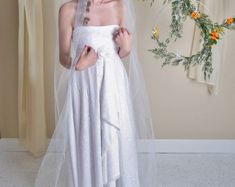 simple cathedral veil, cathedral veil, off white veil, off white cathedral veil, diamond white veil, cut edge veil