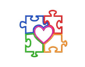 Autism Heart Puzzle Applique Machine Embroidery Design Pattern