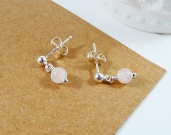 Rose Quartz Earrings, Stud Earrings,  Sterling Silver, Birthday Gift, Gemstone Earrings, Tiny, Delicate, Pink Beads, Simple Bead Earring