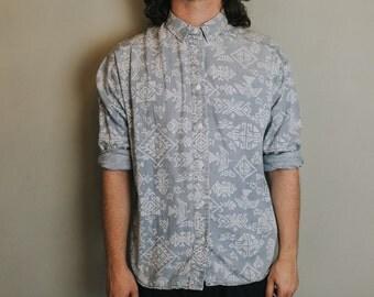 S Light Blue Aztec Button Up Long Sleeve Shirt