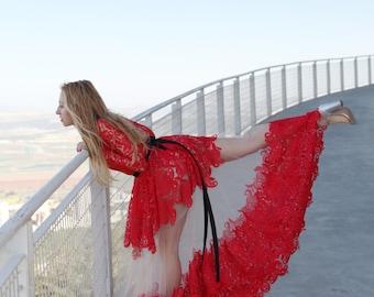 Bohemian Wedding Dress Long Sleeves Red Lace Dress Woman Wedding Full Length Naked Dress Gown Long Red Folded Skirt Free Worldwide Ship