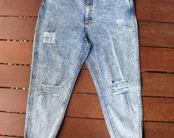 Acid Wash Mom Jeans 32 Waist Denim Distressed High Waisted Jeans 90s Grunge
