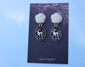 White Unicorn Earrings, Wedding Earrings, Wedding Dangle Earrings, White Flowers, White Flower Earrings, Brides Jewellery, Bridal Jewellery