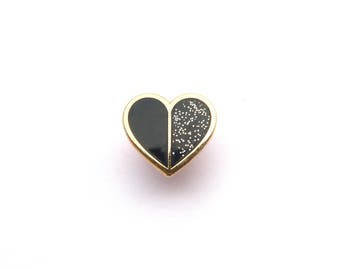 Tiny Black Heart Pin, Enamel Pin, glitter, gold metal, hard enamel, brooche, lapel pin, little lefty lou, slight second, pins, pin badge
