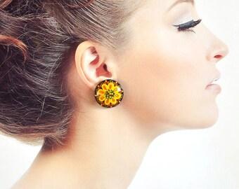black Yellow flower earrings boho jewelry wooden paint Gift ideas Stud earrings sister gift Paint jewelry wood studs gifts|for|girlfriend