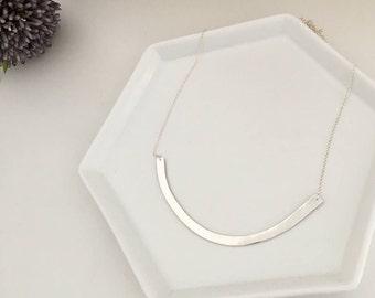 Large curved bar, pendant necklace, 960 sterling silver pendant with 925 sterling silver chain