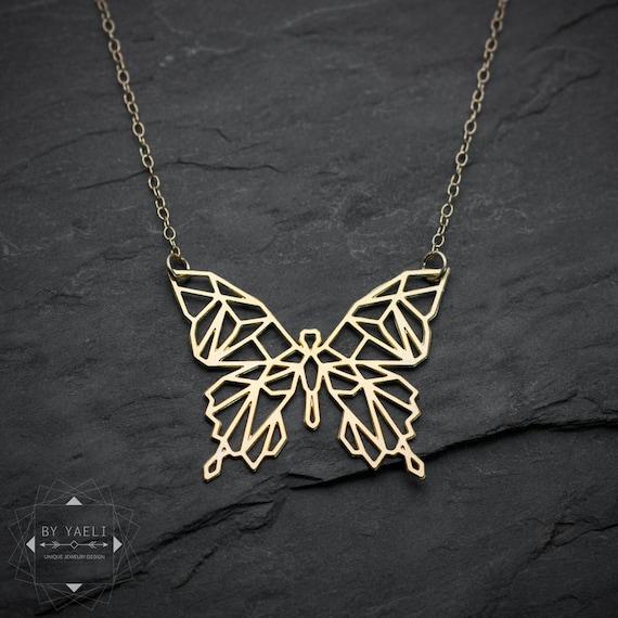 Modishvdm butterfly necklace geometric butterfly pendant origami butterfly necklace geometric butterfly pendant origami buttrfly necklace insect jewelry animal necklace aloadofball Choice Image