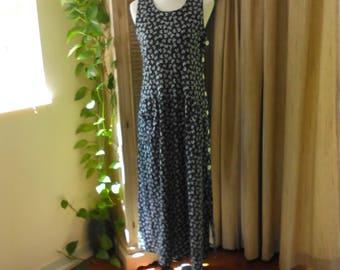 Vintage Drop Waist Dress Size M by Adrienne Vittadini Grunge Dress, Sleeveless Maxi Dress with Pockets, Preppy Dress, Cottage Chic Dress