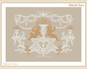 Empire style panel Angels and flowers Cross Stitch Pattern PDF monochrome Empire style panel Angels and flowers.