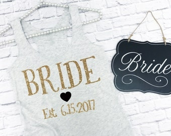 Bride tank top. Bride Shirt. Bride tank with date. Personalized Bridal Shirt. Bachelorette Party Shirts. Bride tank top.