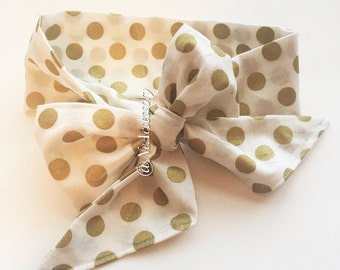 Polka Dot Headwrap, Baby Bow, Baby Headwrap, Photo Prop, newborn Headband