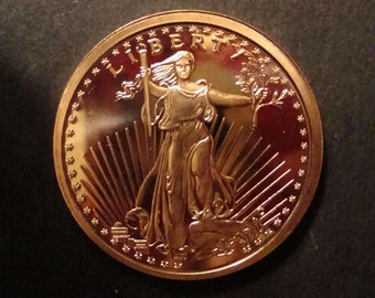 Copper Bullion Coin Pure 0.999 St. Gaudens Obverse And Eagle Reverse One A.D.V.P. OUNCE-Perfect Mirror Like Condition-Great Collector's Coin