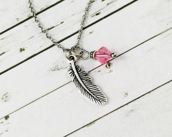 Personalised Feather Necklace, With Swarovski Crystal Birthstone Charm, Feather Pendant, Feather Jewellery, Antique Silver Charm Necklace