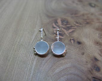 Chalcedony and sterling silver earrings with gold detail