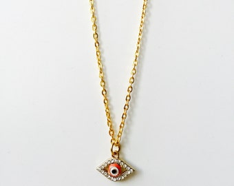 Orange Diamonte Evil Eye Charm Necklace~Womens Arabic Jewellery~Gold Chain~Protection~Spiritual Jewellery