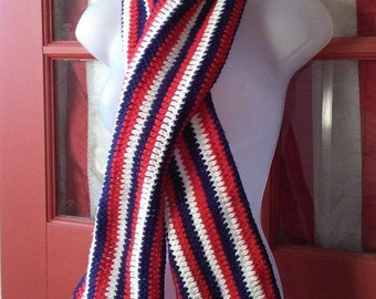 Patriotic Scarf, Red White and Blue Scarf, USA Scarf, Flag Scarf, Patriotic American Flag Scarf