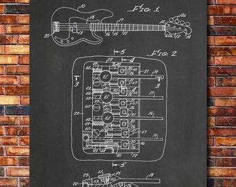 Fender Bass Guitar Patent Print Art 1985