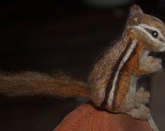 Realistic Needle Felted Soft Wool Chipmunk, pocked animal
