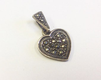 Marcasite pendant etsy marcasite and sterling silver heart pendant aloadofball Image collections