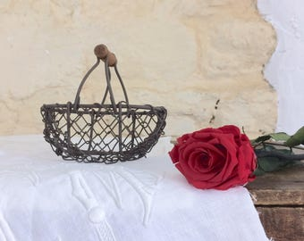Small Old Wire Basket with Wooden Handle. Vintage French Flower Girl Basket Wedding Décor