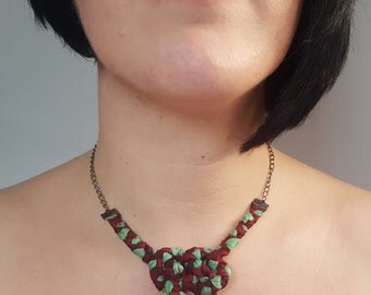Sari silk knot necklace, claret and pale sage silk josephine knot necklace, handbraided silk knot necklace
