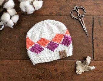 Baby Knit Hat//Baby Girl Beanie//White, Orange, Purple Hat//Newborn Beanie//Argyle Baby Hat//Baby Shower Gift//Photo prop//Baby Girl Gift