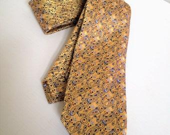 Vintage Ermenegildo Zegna Silk Tie, Designer Necktie, Gold Sheen Small Paisley Elegant 1980's Italian Silk Vintage Men's Tie