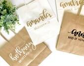 Custom name/title gift bag- bridesmaid gift, custom bag, calligraphy bag, custom name bag, name gift bag, bridal party bag, calligraphy bag