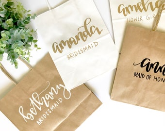 Custom name gift bag- bridesmaid gift, custom bag, calligraphy bag, custom name bag, name gift bag, calligraphy bag, calligraphy gift bag