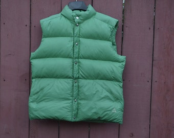 Retro Ski Vest,GERRY Down Vest,Mens Puffy Vest,Down Filled Vest,Grass Green,Outdoor Sportswear Snow Skiing Snowboarding Winter Snaps Up Vest