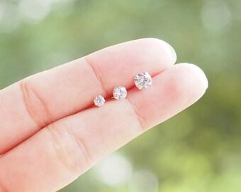 3-5 mm Cubic Zirconia Stud Earrings, 925 Sterling Silver, Dainty earrings, Tiny stud earrings, Simple earrings - SA121-123